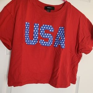 Red, white, and blue USA shirt